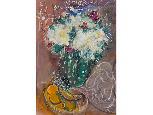 Marc Chagall (1887-1985) Le bouquet au pot vert 19 1/2 x 13 3/4 in (49.7 x 34.8 cm) (Painted in 1951)