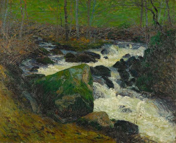 Gustave Loiseau (1865-1935) Rivière sous bois, la rivière de Mortain 23 1/2 x 28 7/8 in (59.7 x 73.4 cm) (Painted circa 1894)