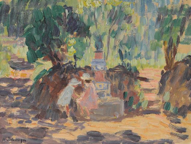 HENRI  LEBASQUE (1865-1937) Saint-Tropez, les enfants à la fontaine 8 7/8 x 11 3/4 in (22.6 x 30 cm) (Executed in 1906)