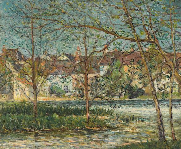MAXIME MAUFRA (1861-1918) La chute d'eau, Nemours 23 5/8 x 28 3/4 in (60 x 73 cm)