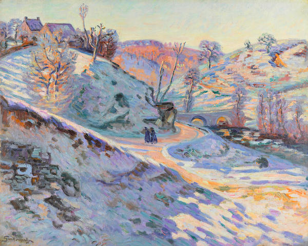 ARMAND GUILLAUMIN (1841-1927) Le pont Charrant, gelée blanche, Crozant 25 1/2 x 31 3/4 in (65 x 81 cm) (Painted circa 1900)
