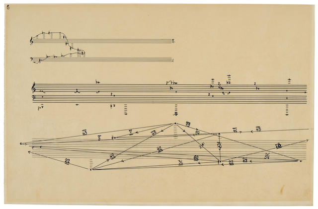 "CAGE, JOHN. 1912-1992. Autograph Musical Manuscript Initialed (""J.C.""), ink on translucent paper 430 x 278 mm, n.p., [after 1958], being page 6 from the piano part of Concert for Piano and Orchestra,"