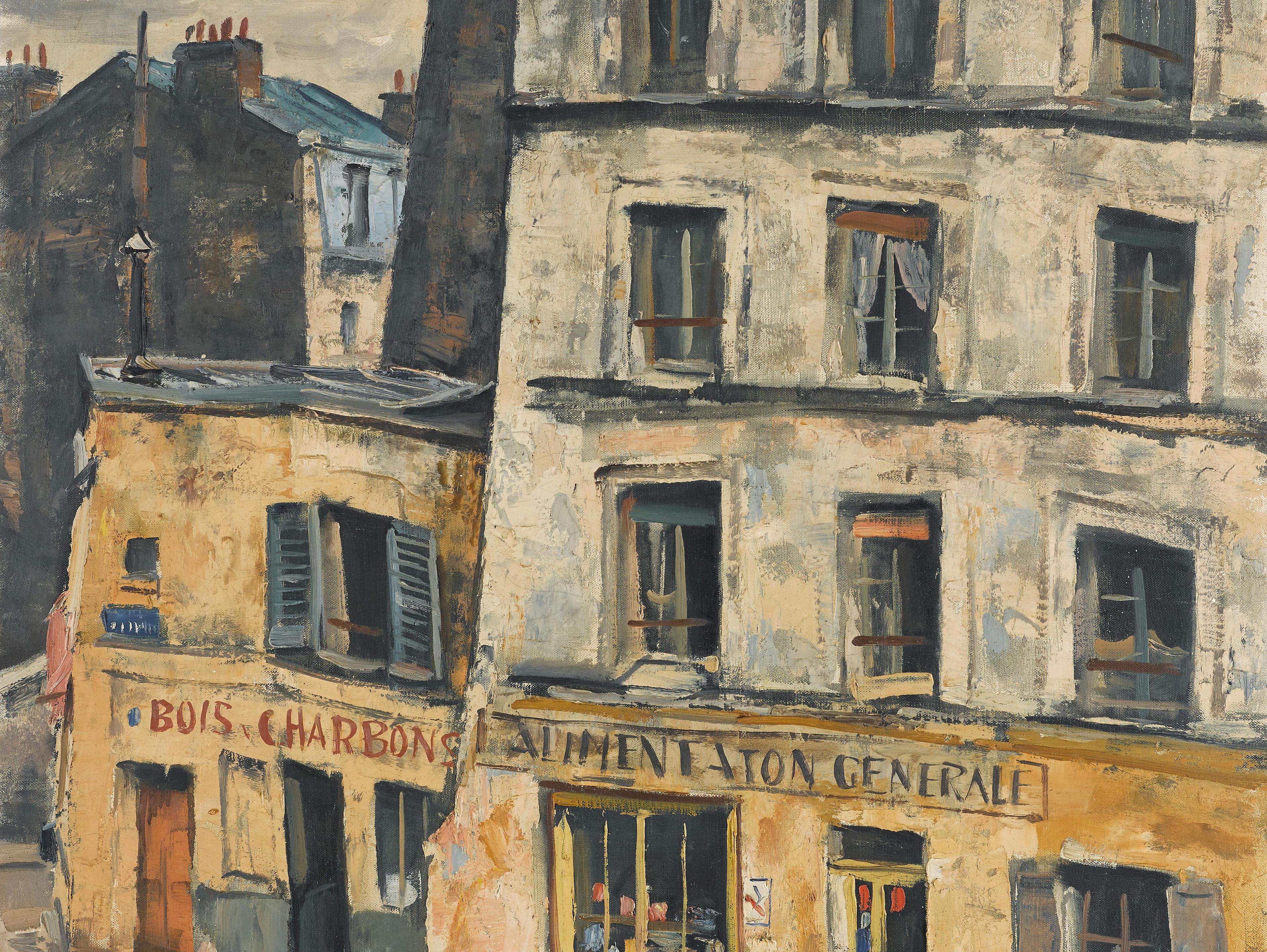 TAKANORI OGUISS (1901-1986) Rue Gabrielle, boutiques jaunes de Montmartre 28 3/4 x 23 1/2 in (72.8 x 59.7 cm) (Painted circa 1949)