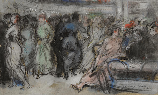 Everett Shinn (1876-1953) The Old Haymarket, New York 7 3/4 x 13in (Executed in 1900.)
