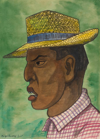 DIEGO RIVERA (1886-1957) Hombre con sombrero Panamá  15 3/8 x 10 7/8 in (39 x 27.6 cm) (Executed in 1947)