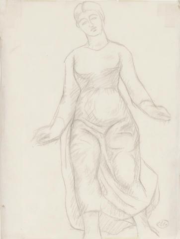 ARISTIDE MAILLOL (1861-1944) L'Offrande sheet 10 3/4 x 8 1/4in (27.3 x 29cm) (Drawn in 1928)