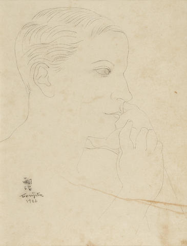 LÉONARD TSUGUHARU FOUJITA (1886-1968) Portrait 9 3/4 x 7 3/8 in (24.9 x 18.5 cm) (Executed in 1926)