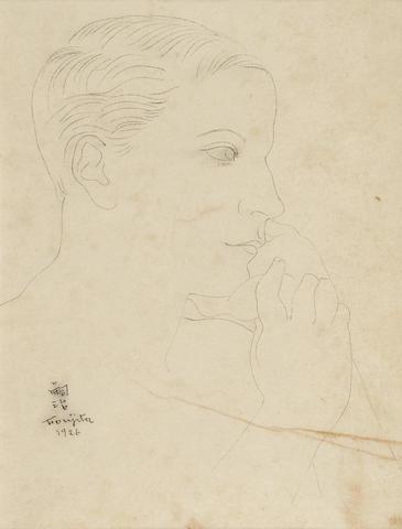 LÉONARD TSUGUHARU FOUJITA (1886-1968) Portrait 9 3/4 x 7 3/8 in (24.9 x 18.5 cm) (Executed in 1926)