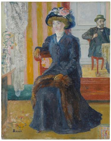 James Ensor (1860-1949) Nos deux portraits 16 1/2 x 14 7/8 in (42 x 38 cm) (Painted circa 1905)