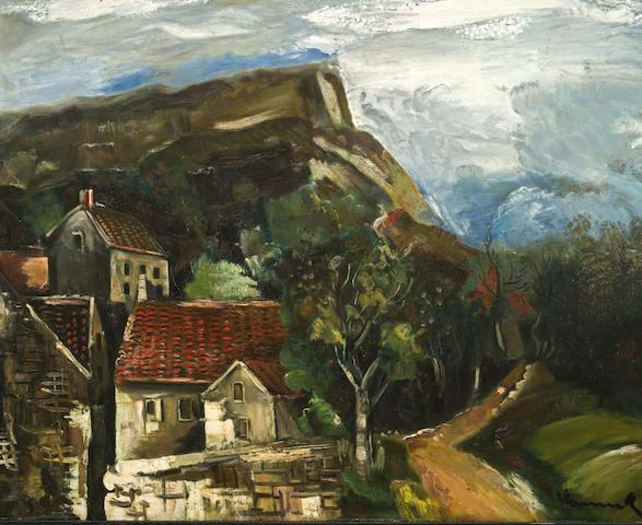 Maurice de Vlaminck (1876-1958) Vue de village 31 3/4 x 39 1/4 in (80.7 x 99.5 cm) (Painted circa 1920-1925)