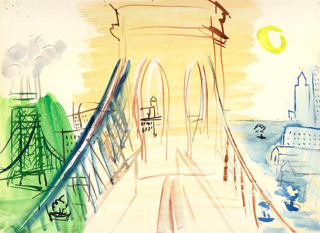 RAOUL DUFY (1877-1953) Le pont de Brooklyn 9 7/8 x 13 in (25.2 x 33 cm) (Painted circa 1944-46)
