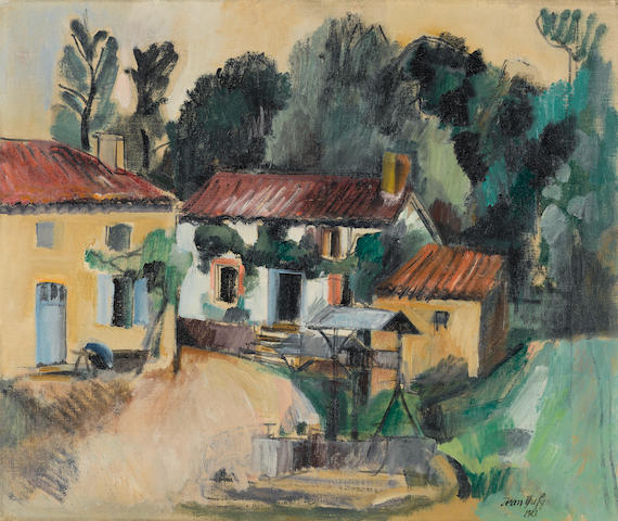 JEAN DUFY (1888-1964) Cour de ferme 18 x 21 3/4 in (45.9 x 55.1 cm) (Painted in 1921)
