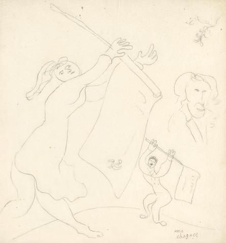 Marc Chagall (1887-1985) La Guerre des drapeaux 14 5/8 x 13 5/8 in (37.1 x 34.5 cm)