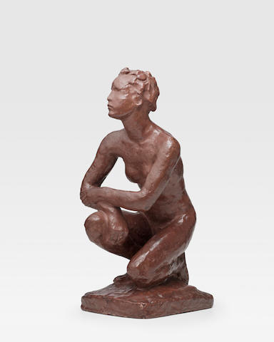 Georg Kolbe (1877-1947) Kauernde Marburg 17 3/4 in (54.4 cm) (height) (Conceived in 1925, this plaster version was executed circa 1927-28)