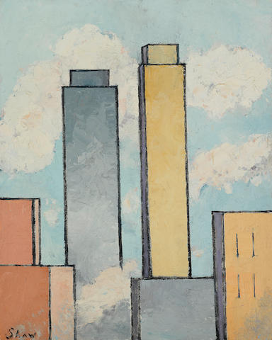 Charles Green Shaw (1892-1974) Untitled (City Skyline) 20 x 16in (Painted circa 1930s.)