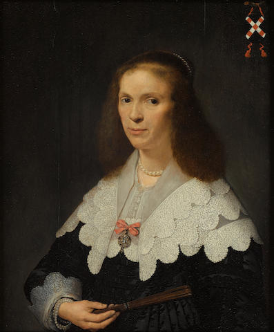 Attributed to David Bailly (Leiden 1584-1657) Portrait of Jacoba van Erp (1608-1664), bust-length, in black costume and lace collar