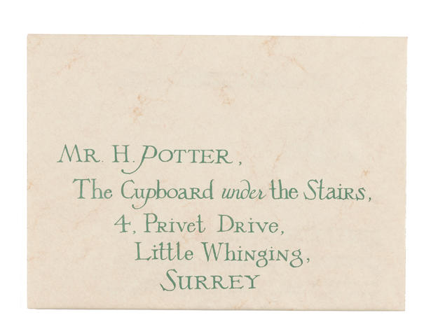 bonhams harry potter s hogwarts acceptance letter with envelope