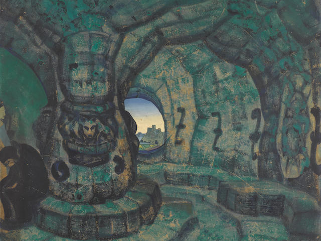 Nikolai Konstantinovich Roerich (1874-1947) The Tower, a stage design for Princess Maleine, 1913 76 x 70cm (30 x 27 5/8in).