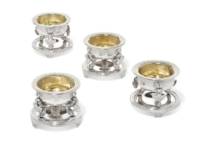 A set of four Regency  sterling silver  master salt cellars from the Lonsdale Service by Benjamin Smith II, London; probably supplied by Rundell, Bridge and Rundell,   1808
