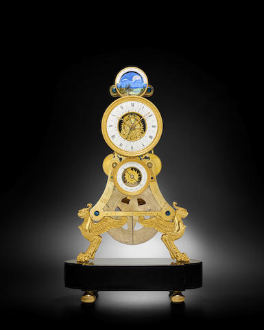A fine Empire month going skeleton clock with calendar, moon phase and annual calendar indicating Equation of Time and time of sunrise and sunset signed 'Verneuil à Dijon', circa 1810