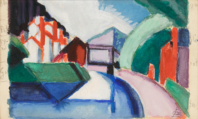 Oscar Bluemner (1867-1938) Canal, Garret Mountain, Paterson, New Jersey 3 5/8 x 5 3/8in (Executed circa 1920.)