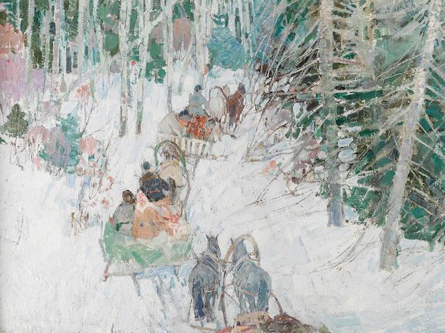 Leon Schulman Gaspard (1882-1964) Siberian Sleighriders  119.4 x 101.6cm (47 x 40in).
