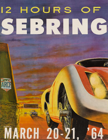 """12 Hours of Sebring 1964 original event poster by Schulz, 23.5"""" x 17¼in"""