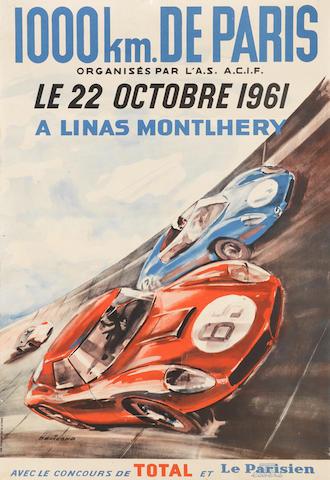 """1000 km de Paris 1961 original event poster by Beligond, 22¾in x 15.25"""""""