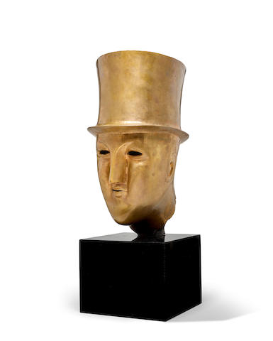 Elie Nadelman (1882-1946) Head of a Man in a Top Hat 18in high on a 7 1/4in marble base (Modeled by 1914, cast in 1982-83.)