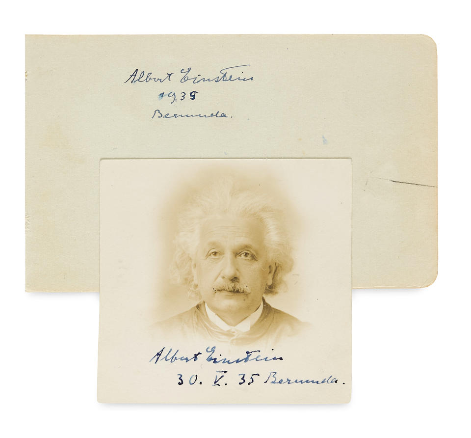 "EINSTEIN, ALBERT. 1879-1955. Passport Photograph Signed (""Albert Einstein, 30. V. 35, Bermuda"") 2 3/8 x 2 3/8 in, Bermuda, 30 May, 1935."