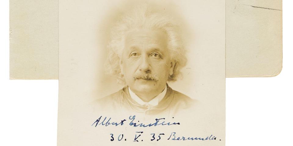 """EINSTEIN, ALBERT. 1879-1955. Passport Photograph Signed (""""Albert Einstein, 30. V. 35, Bermuda"""") 2 3/8 x 2 3/8 in, Bermuda, 30 May, 1935."""