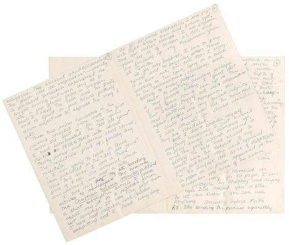 "PLATH, SYLVIA. 1932-1963. Autograph Letter Signed (""Sylvia Plath""), to Miss Katherine Benion, concerning how she got started in writing, 6 pp (on 2 pairs of conjoining leaves), 8vo, [Northampton, MA], March 3, 1951, in ink on blue-bordered patterned stationery,"