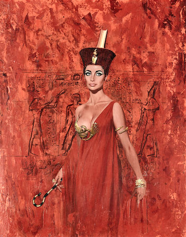 A painting of Elizabeth Taylor as Cleopatra