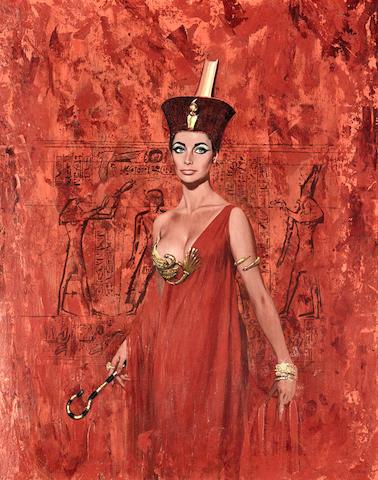 Bonhams : A painting of Elizabeth Taylor as Cleopatra