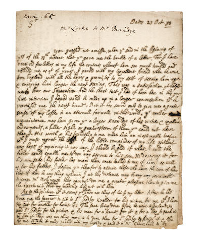 "LOCKE, JOHN. 1632-1704. Autograph Letter Signed (""J Locke""), 2 pp, 8vo (conjoining leaves), Oaks, October 27, 1698, to Ezekial Burridge of Dublin,"