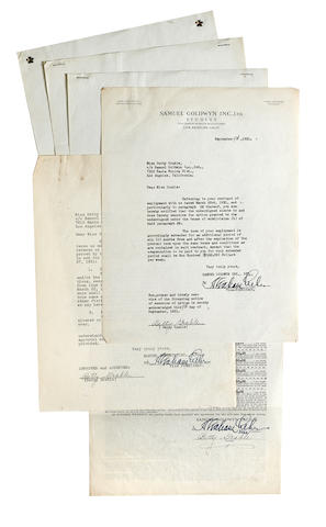 A pair of Betty Grable signed contracts