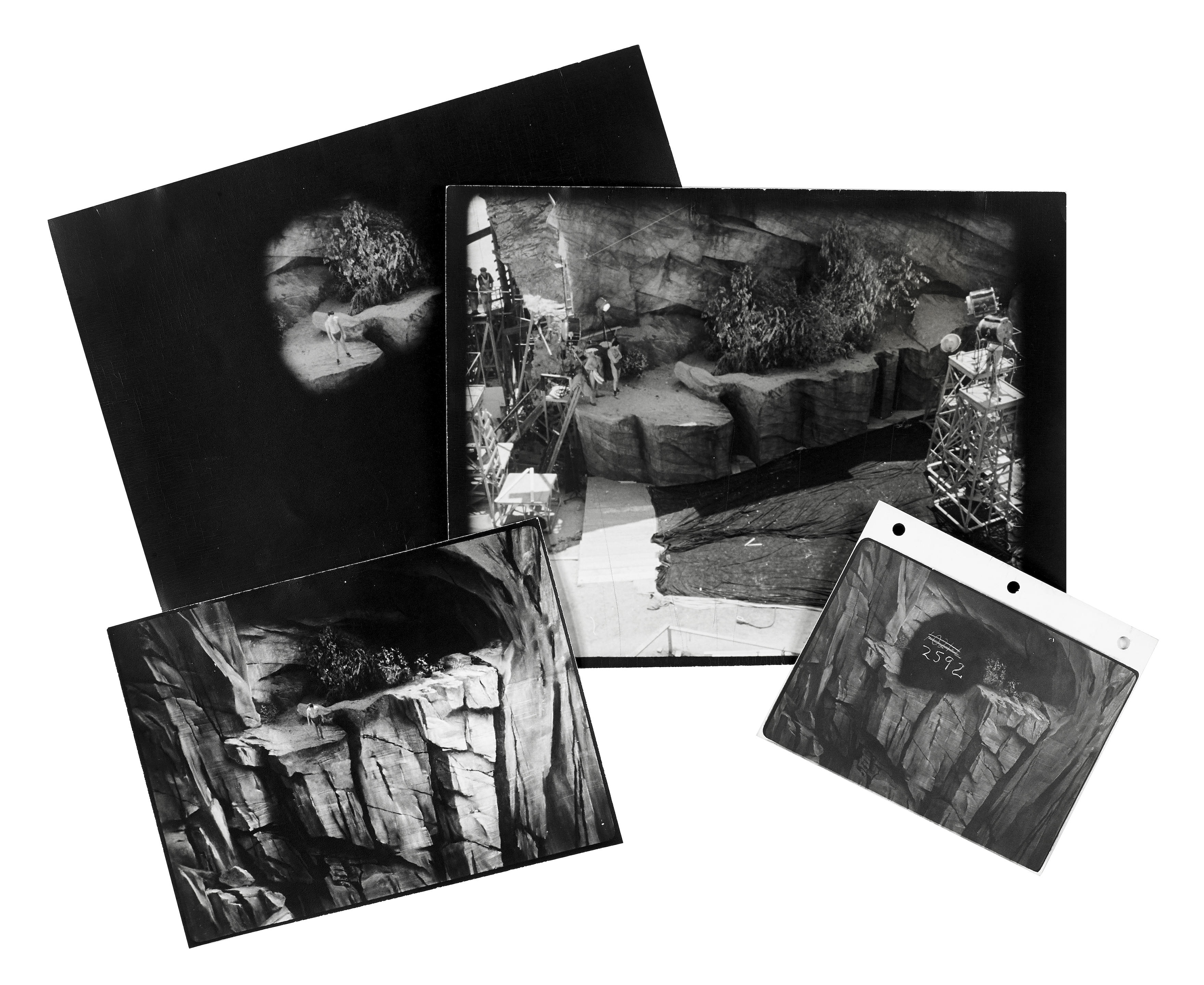 A group of vintage photographs detailing the matte process from 5 MGM...