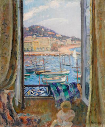 HENRI  LEBASQUE (1865-1937) Villefranche, fenêtre ouverte sur le port 24 1/8 x 19 7/8 in (61.1 x 50.2 cm) (Painted in 1925-26)