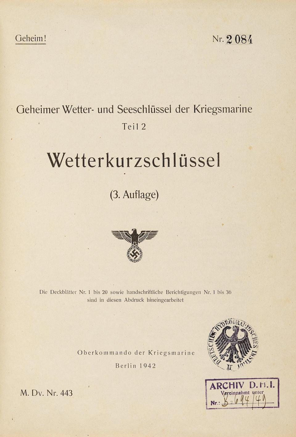GERMAN WEATHER REPORT CODEBOOK, FOR ENIGMA USE. Wetterkurzschlussel. [WKS. Weather short Signal Book]. Berlin: Oberkommando der Kriegsmarine, 1942.