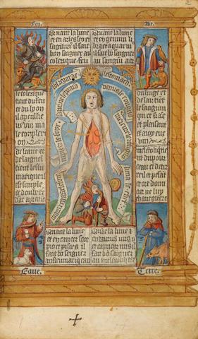 BOOK OF HOURS, USE OF ROME in Latin and French. Benedictio dei patris cum angelis suis.... Paris: Antoine Verard, 30 October 1507.