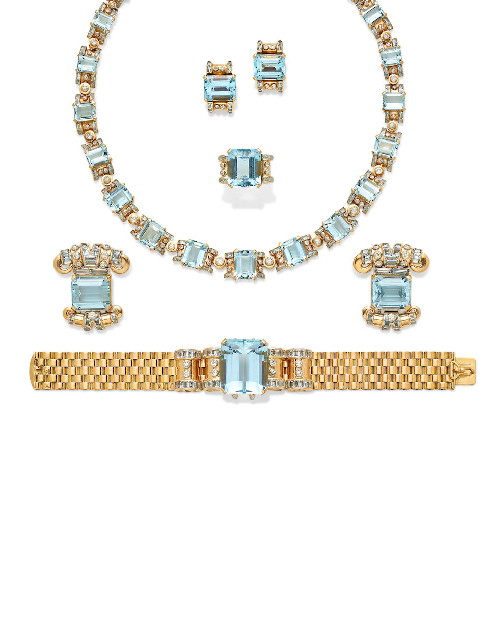 A Retro aquamarine, diamond and gold suite,