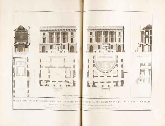 LEGENDRE, JEAN-GABRIEL. D.1770.  Description de la Place de Louis XV que l'on construit a Reims, des ouvrages a continuer aux environs de cette place, & de ceux a faire dans la suite pour l'utilite & l'embellissement de cette ville. Paris:  Imprimerie de Prault, 1765.