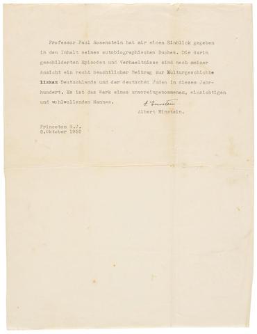 """EINSTEIN, ALBERT. 1879-1955.  Typed Letter Signed (""""A. Einstein"""") in German, 1 p, 4to, Princeton, N.J. 8 October, 1952,"""