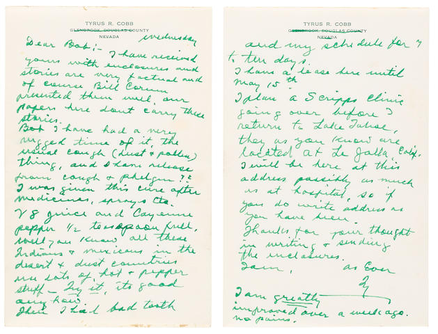 """COBB, TYRUS RAYMOND """"TY."""" 1886-1961. Autograph Letter Signed (""""Ty""""), 4 pp, 8vo (177 x 105 mm), [La Jolla, CA], undated [late 1959/1960], to """"Bob,"""""""