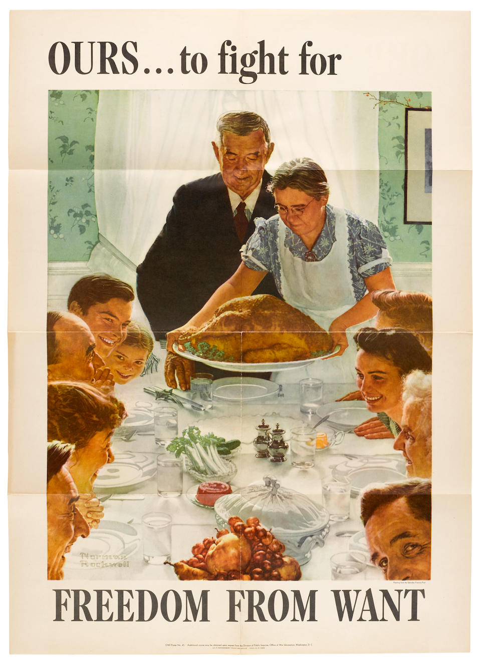 """ROCKWELL, NORMAN. 1894-1978. A complete set of Norman Rockwell's """"Four Freedoms"""" posters, photolithographed, 28 x 20 inches each, Washington: Government Printing Office, 1943,"""