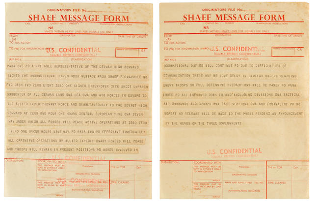 "THE SHAEF TICKER-TAPE ANNOUNCEMENT OF GENERAL EISENHOWER'S ""TOTAL CEASE FIRE ORDER"", (FWD-20801) ANNOUNCING THE UNCONDITIONAL SURRENDER OF GERMANY. 2 leaves of SHAEF proforma ""SHAEF MESSAGE FORM"", unmarked and undated,"