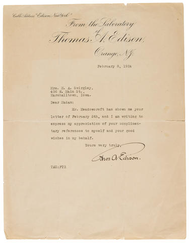"EDISON, THOMAS A. 1847-1931. Typed Letter Signed (""Thos A. Edison""), 1 pp, February 8, 1924,"
