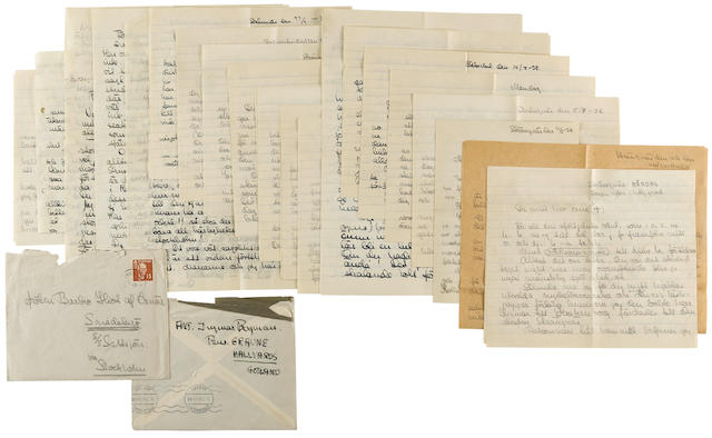 "BERGMAN, INGMAR. 1918-2007. A group of 20 Autograph Letters, some signed (""Ingmar"") in Swedish, 78 pp total, 4to and 8vo, Strängnäs and other locations, Sweden, 1938 to 1940, to his girlfriend Barbro Hiort af Ornäs,"