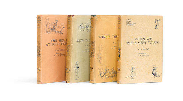 MILNE, ALAN ALEXANDER. 1882-1956.   When We Were Very Young; Winnie The Pooh; Now We Are Six; The House at Pooh Corner.  London: Methuen, 1924-1928.