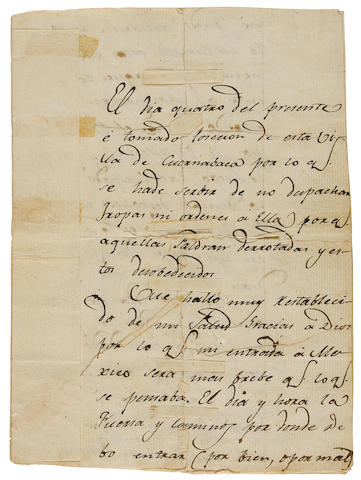 "MORELOS Y PAVON, JOSE MARIA. 1765-1815. Autograph Letter Signed (""Jose Ma Morelos"") in Spanish, to Virrey Francisco Xavier Venegas, the Viceroy of New Spain, 4 pp bifolium,"